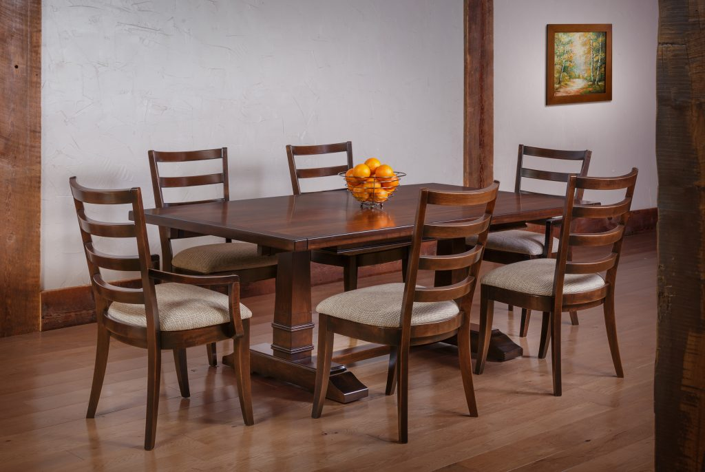 clean wooden dining table and chairs set